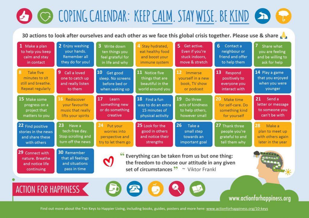 Mental health coping calendar