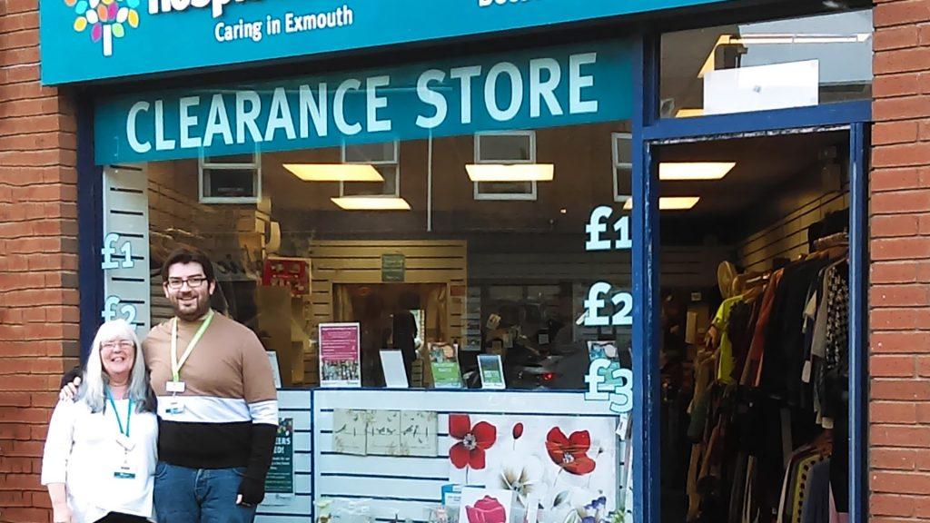Hospiscare shop volunteer Jack outside the Exmouth shop