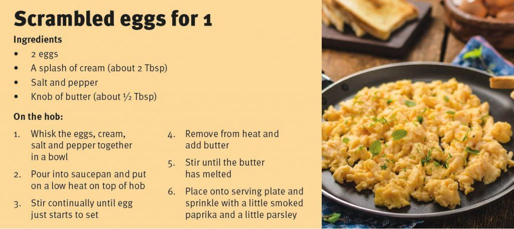 Scrambled eggs for 1 recipe