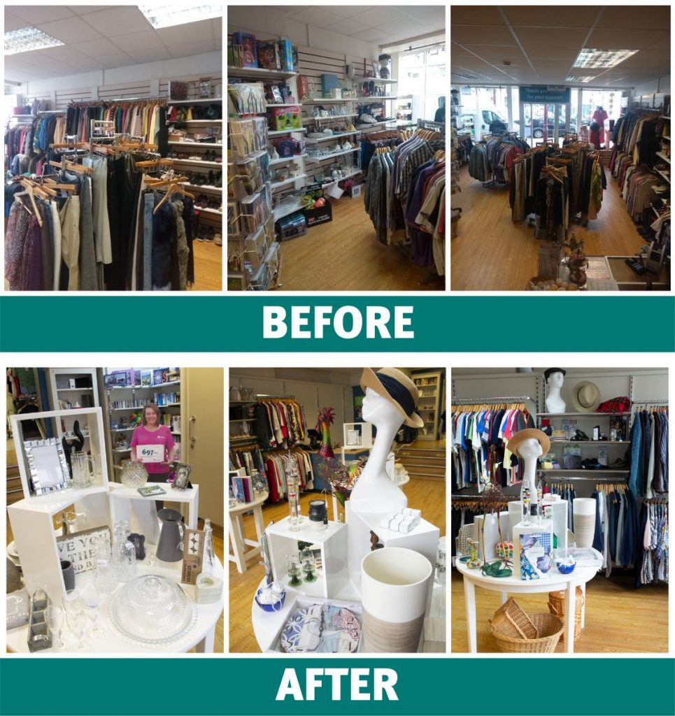 Before and after images of Hospiscare's Seaton shop