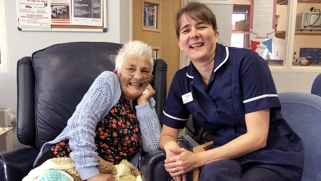 Hospiscare patient Sue with nurse Emma