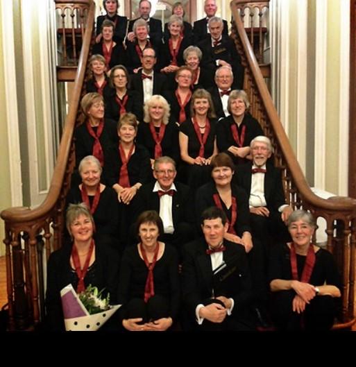 Cantilena choir sitting on a staircase