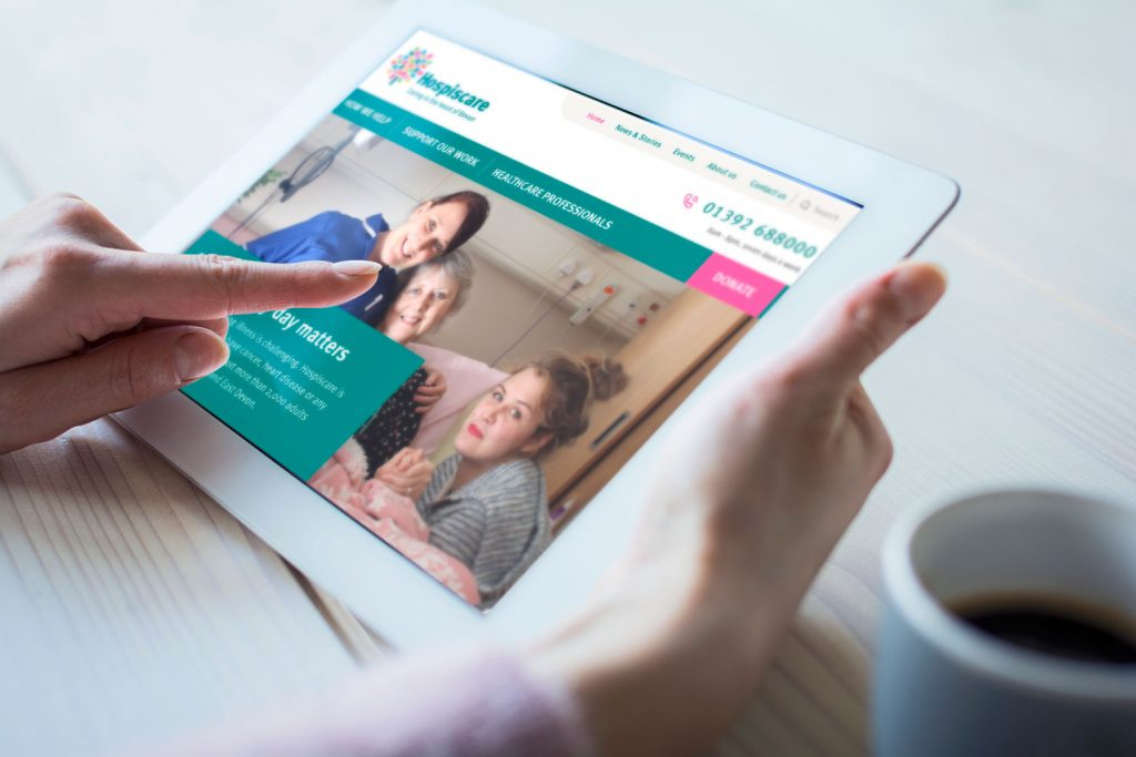 The new Hospiscare website on an iPad