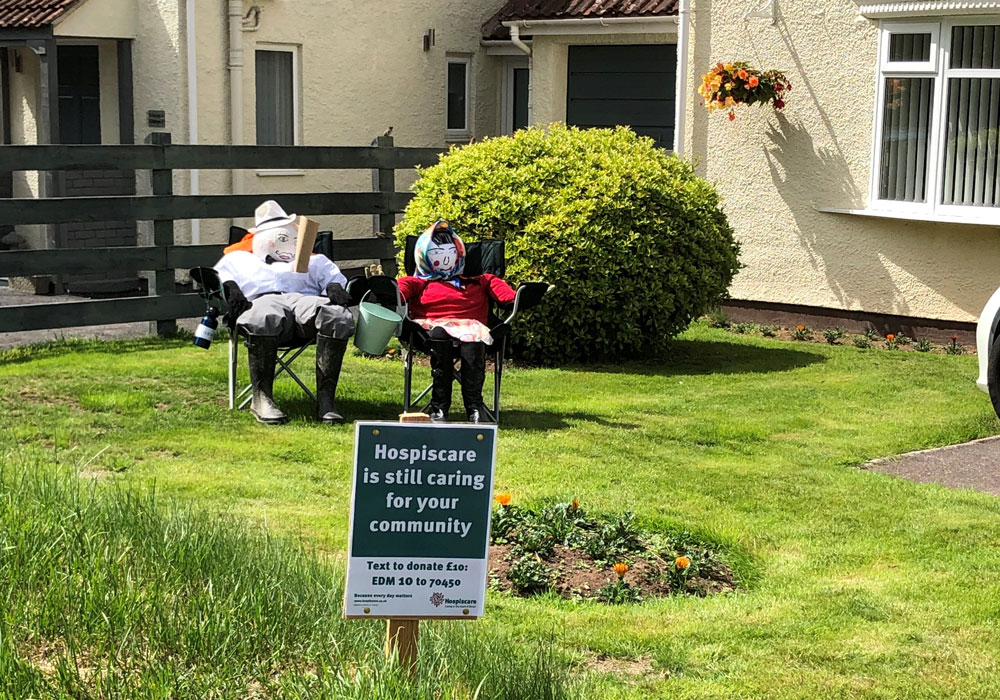 Scarecrows on a lawn for Hospiscare