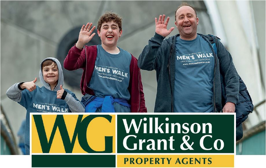 A man and two boys waving with a Wilkinson Grant logo on top
