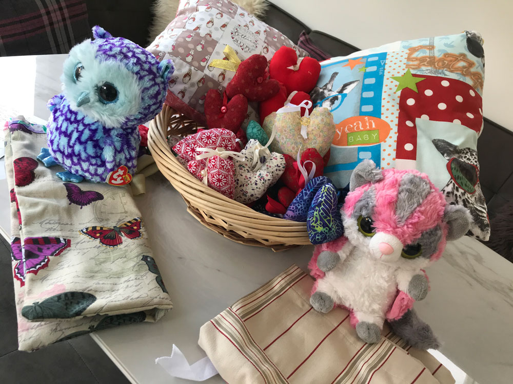 Cuddly toys and hand crafted material hearts