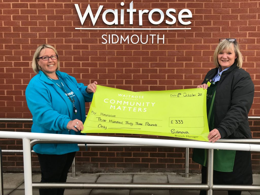 Two women holding a big cheque outside Waitrose