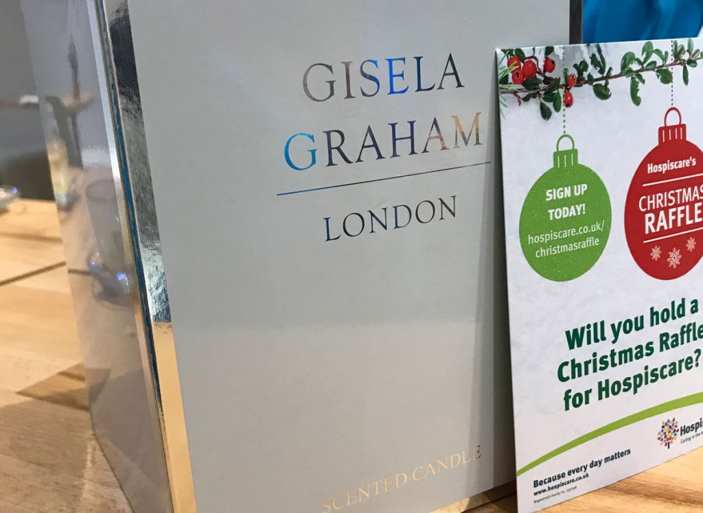 A Gisela Graham box next to a Hospiscare flyer