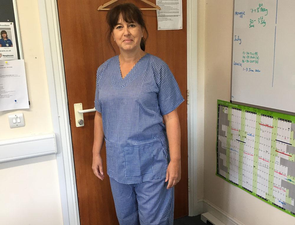 A nurse wearing homemade scrubs
