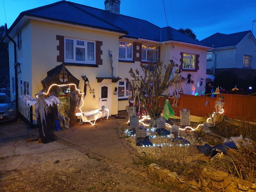 A house decorated for Halloween