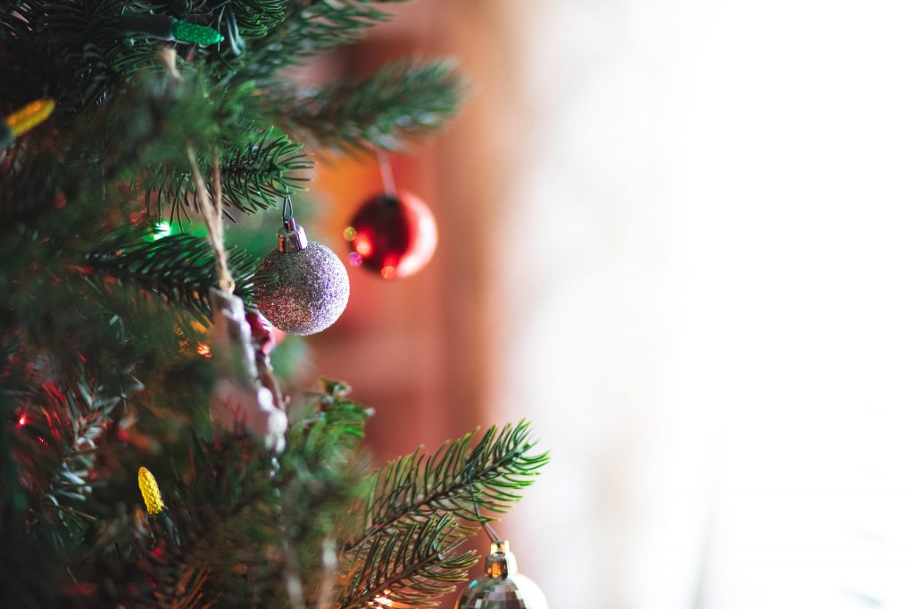 A Christmas tree with baubles