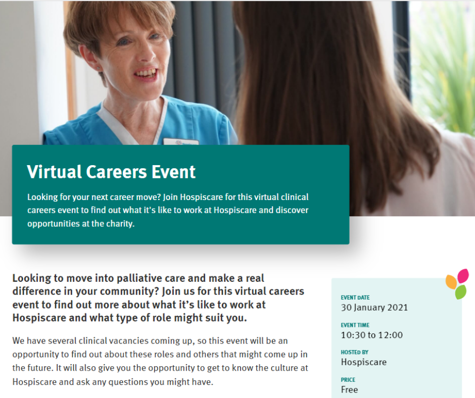 Virtual Careers Event from Hospiscare