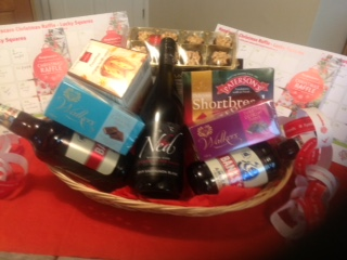 A hamper full of food and drink prizes