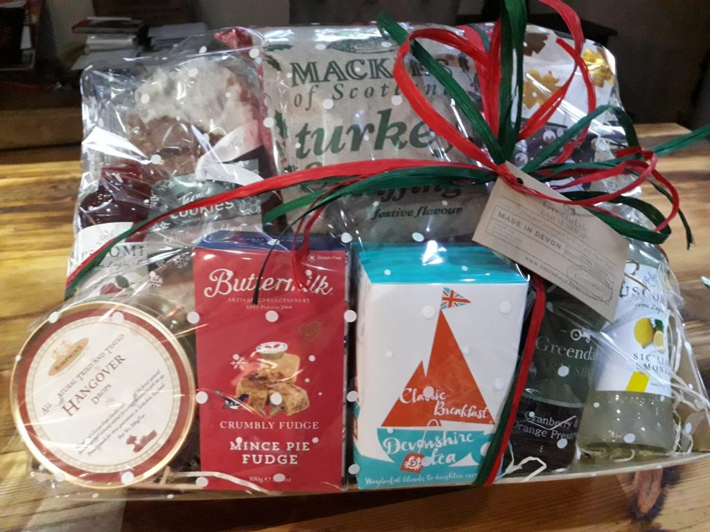 A hamper filled with festive food and drink prizes