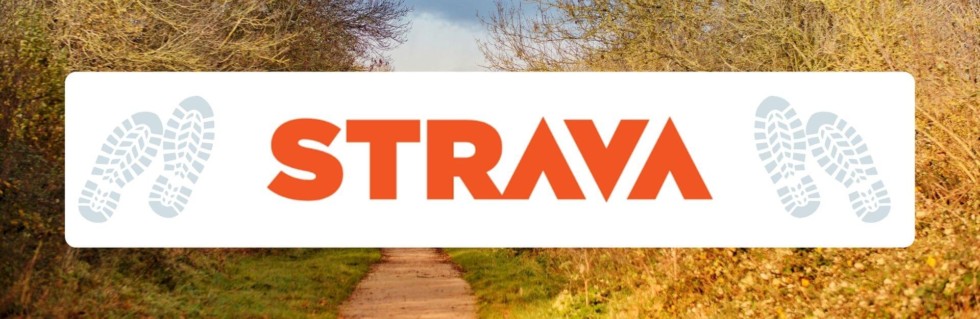 Strava logo against a background of a countryside view
