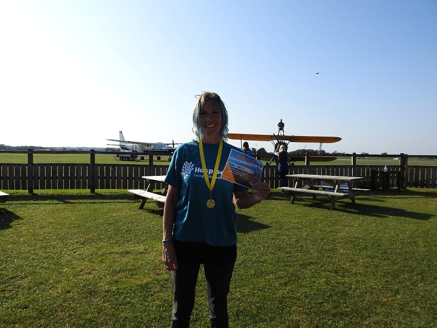 Sharon takes to the skies for Hospiscare