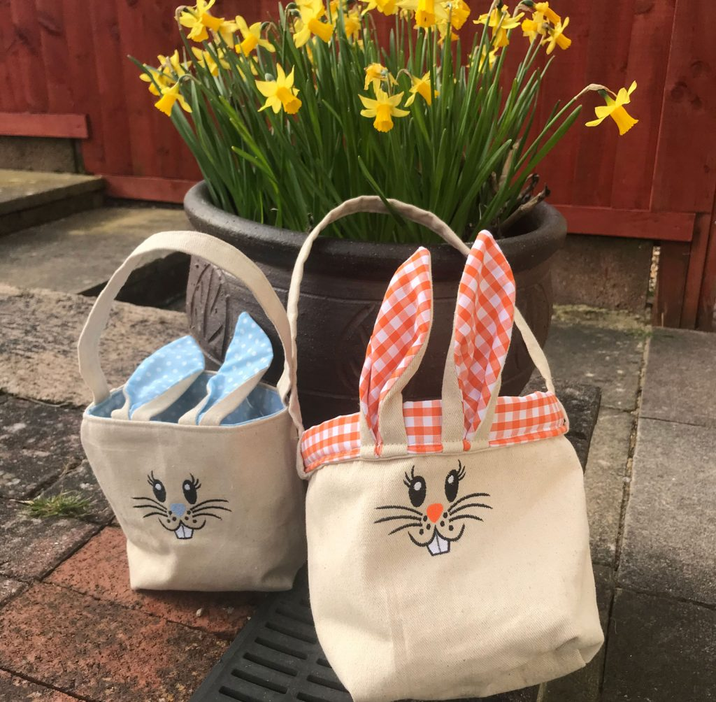 Two handmade hessian bunny bags