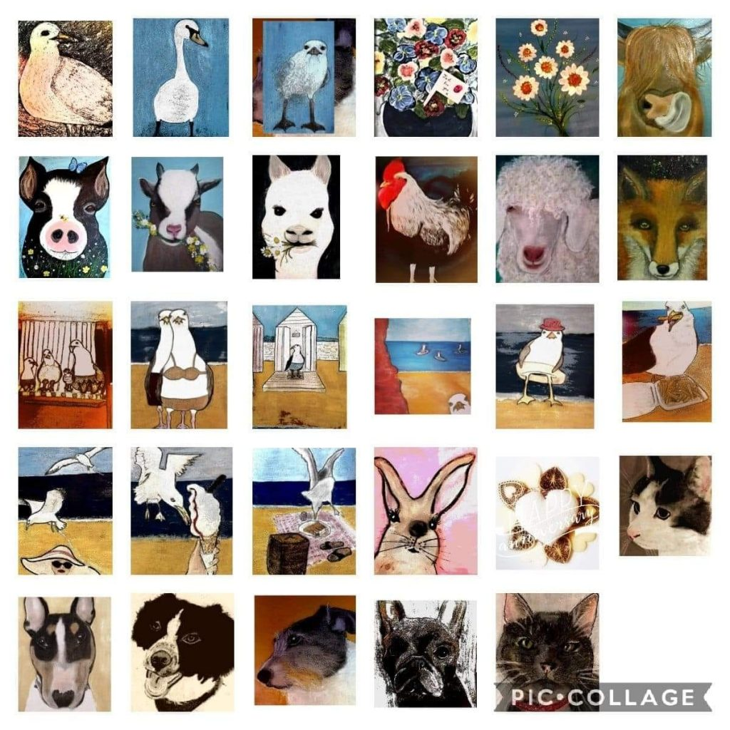 A piccollage of hand painted animal cards