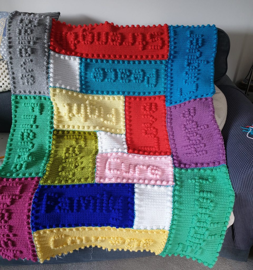 A colourful crocheted blanket