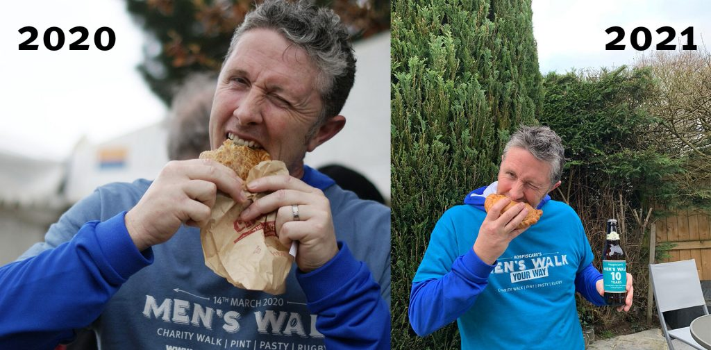 Two shots of a man eating a pasty