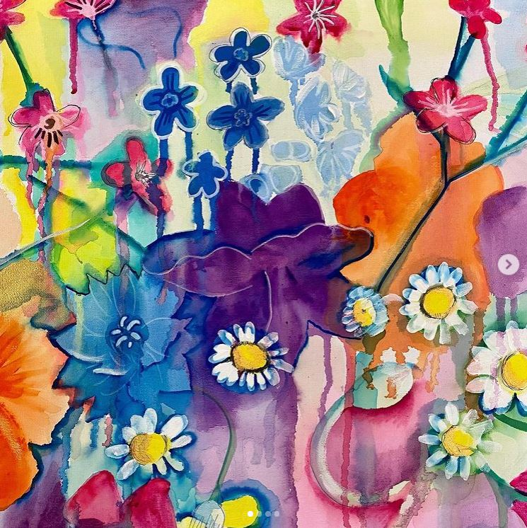 An abstract painting of flowers
