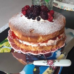 Sponge cake topped with summer berries