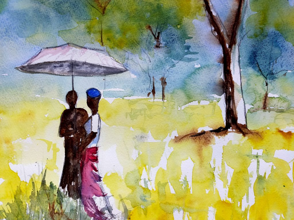 A painting of two people under a parasol in the countryside