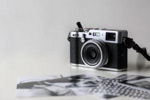 A vintage black camera